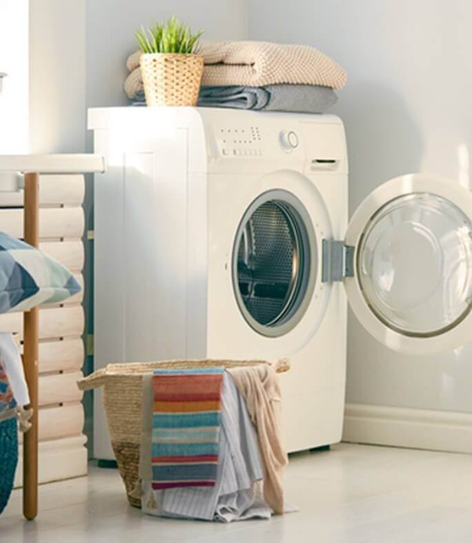 Washing machine symbolic to cotton protecting against odors