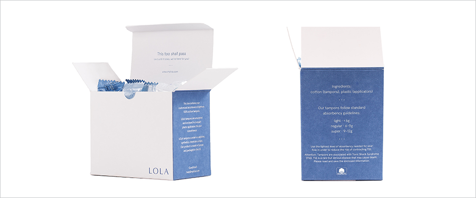 lola tampons box open front and side angles