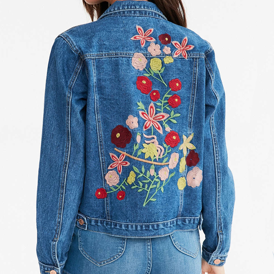 How to upgrade your denim jacket cotton blue woodstock embroidered denim jacket solutioingenieria Image collections