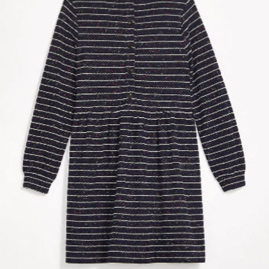 Striped Button Back Swing Dress