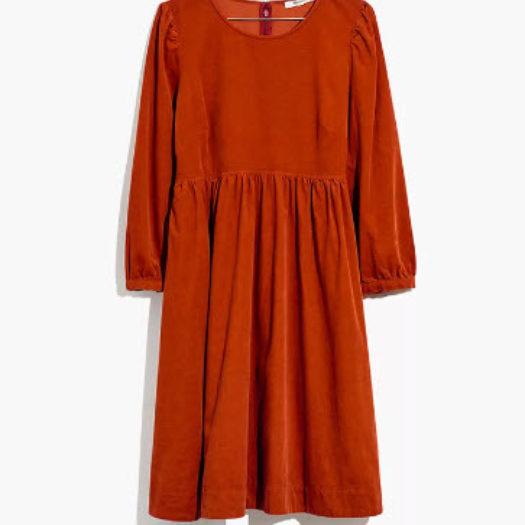 Corduroy Puff-Sleeve Mini Dress