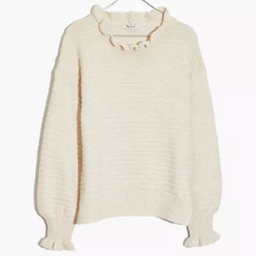 Women's Cotton Ruffle-Neck Pullover Sweater