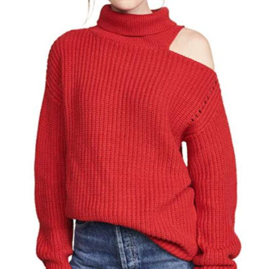 Women's Cotton Cut Out Shoulder Sweater