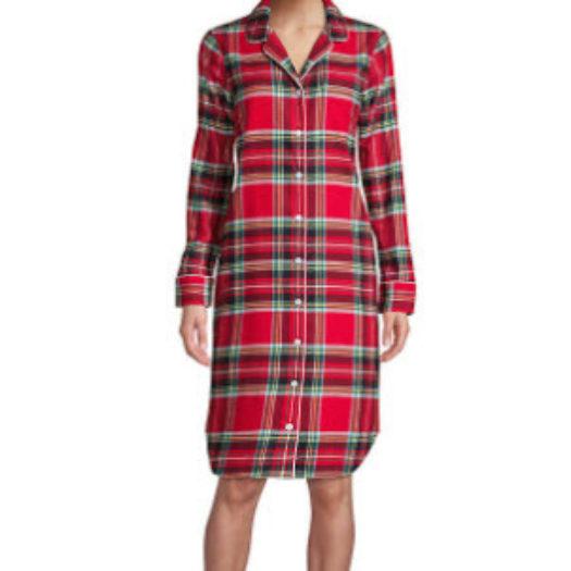 Women's Long Sleeve Print Flannel Nightshirt