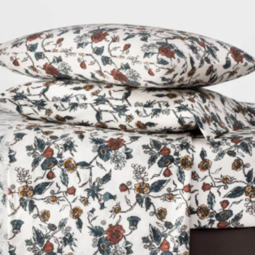 Queen Printed Pattern Fall Flannel Sheet Set Floral