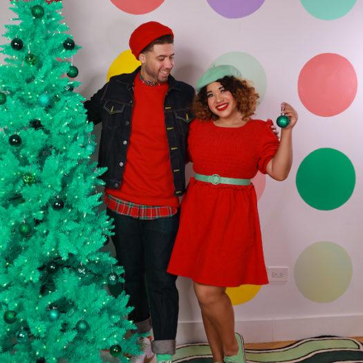 Corduroy Mini Dress in Red