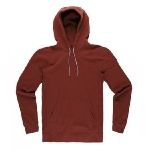 close up of front of myles red hoodie