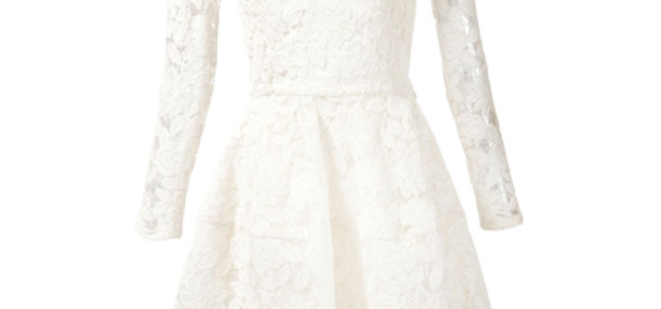 cotton news oscar de la renta Floral Lace Belted Dress square