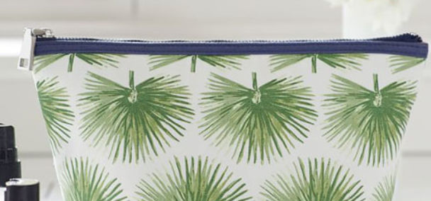 cotton news pottery barn palm tree cosmetic case square