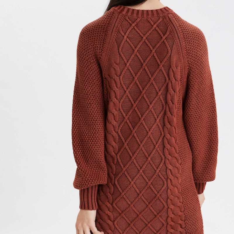 close of up back of acid wash cable knit sweater dress