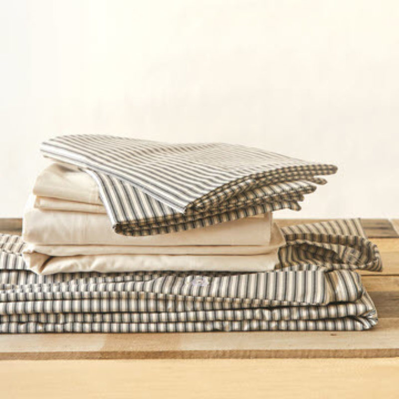 view of lawrence ticking stripe bedding bundle