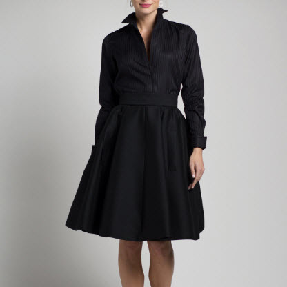 Black Shirt Dress Italian Cotton