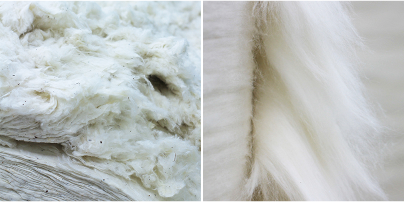 Close up of raw cotton in a bale and combed cotton
