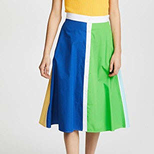 Color Block Cotton Skirt