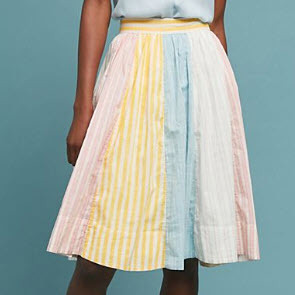 Cotton Colorblock Skirt