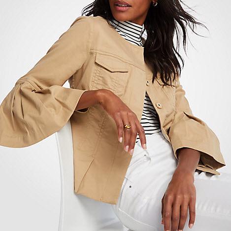 Cotton Flounce Sleeve Jacket
