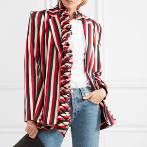 Cotton Red Striped Blazer