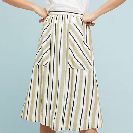 Cotton Stripe Skirt Midi