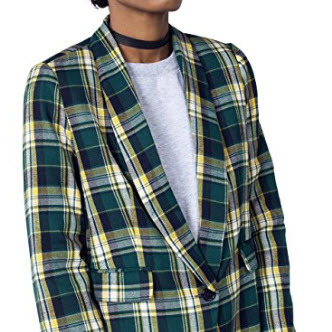 Green Cotton Blazer Plaid