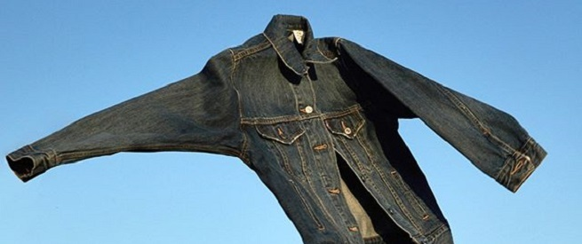 levis jacket in the air against a blue sky background