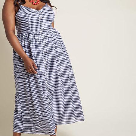 Midi Gingham Dress