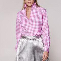 Pink Gingham Women Shirt