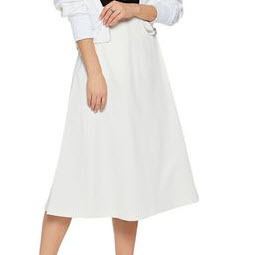 White Cotton Midi Skirt
