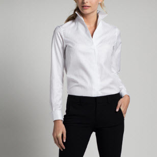 White Cotton Satin Button Down Women