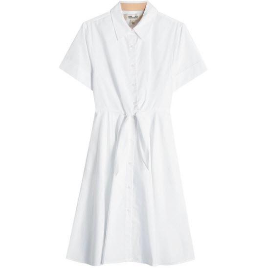 White Cotton Shirt Dress